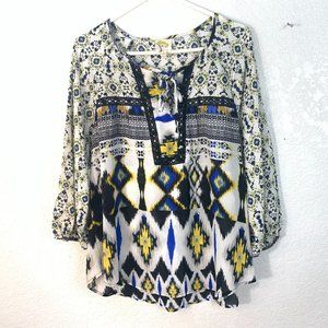 Fig and Flower Boho Peasant Blouse Multicolor L